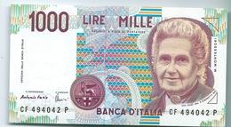 BANCONOTA  1.000 Lire  - M. Montessori  1966 . Firme  Fazio / Amici. - [ 2] 1946-… : République