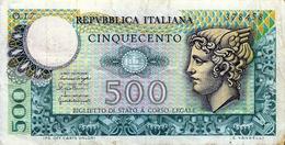 BANCONOTA  Da  500  Lire - Serie MERCURIO - D.M. 24. 12. 1970   DPR 5.6.1976. - [ 2] 1946-… : Républic