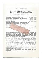 P 889. E.H. THEOFIEL MAHIEU- AVERBODE-°HOUTEM Bij IEPER/OOSTHAM/ATTENHOVEN/GROOT-VORST-+BOIS-SEIGNEUR-ISAAC'71 - Images Religieuses