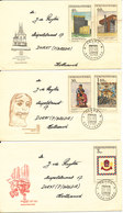 Czechoslovakia FDC 5-6-1968 PRAHA 68 Complete Set Of 5 On 3 Covers With Cachet - FDC