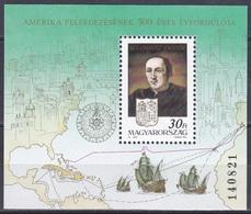 Ungarn Hungary 1991 Geschichte History Entdeckungen Discovery Amerika Kolumbus Columbus Schiffe Ships, Bl. 217 ** - Hongrie