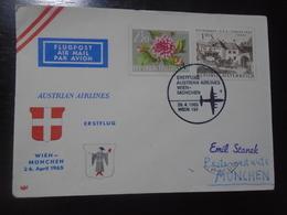 WIEN/VIENNA - MUNICH - AUSTRIAN AIRLINES - AUA - 26.4.1965 - First Flight Covers