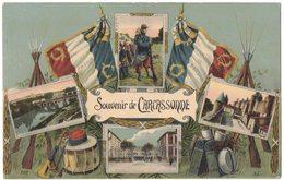 MILITARIA GUERRE 14/18 : SOUVENIR MULTIVUE DE CARCASSONNE - TAMBOUR TROMPETTE CLAIRON FUSIL - War 1914-18