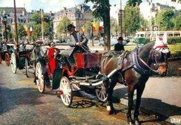75 - Paris - Rond Point Des Champs Elysées : Les Fiacres (attelage Chevaux) - Cartes Postales