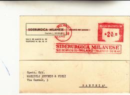 Milano Per Santhià, Cartolina Postale Etichetta Rossa 1959 - Affrancature Meccaniche Rosse (EMA)