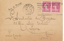 190 X 2 Semeuse Came 20 C. Rose Flamme Flier Paris RP 12-10 Lutherie Française - 1906-38 Semeuse Camée