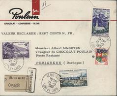 Enveloppe Poulain Chocolat Blois Recommandé Chargé Timbres Ancien + Nouveau Franc YT 1194 AF + 1230A 1241 1255 - Marcophilie (Lettres)
