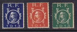 VIGNETTES POINCARE 1913 VERTE/ROUGE/BLEUE  COTE YT 380E - Commemorative Labels