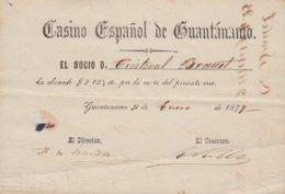 E6231 CUBA SPAIN ESPAÑA. 1877. CASINO ESPAÑOL DE GUANTANAMO INVOICE. - Documents Historiques