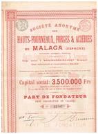 Titre Ancien - Société Anonyme Des Hauts-Fourneaux, Forges & Aciéries De Malaga  - Titre De 1899 - Industrie