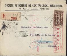 Lettre Recommandée France Pour Espagne Censure Republica Española Censura Carteria YT 301 A Seul Sur Lettre - Bolli Di Censura Repubblicana