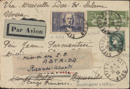 YT 284A X2 Paix + 375 + 439 CAD Steenoorde28 9 39 Par Avion Pour Congo Belge Français Mission PB Astrida Ruanda Burundi - Marcophilie (Lettres)