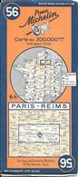 CARTE-ROUTIERE-MICHELIN-N °56-REVISEE1939-PARIS-REIMS--TBE ETAT-Pas De Plis Coupés - Cartes Routières