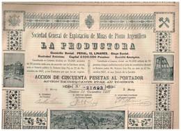 Titre Ancien - Sociedad General De Explotación De Minas De Plomo Argentifero - LA PRODUCTORA - Titre De 1907 - Déco - Mines