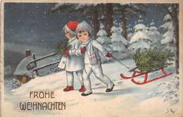 FROHE WEIHNACHTEN-CHILDREN PULLING TREE ON SLED-J K ARTIST SIGNED GERMAN 1925 POSTMARK SCHRAMBERG POSTCARD 39557 - Weihnachten