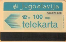 Yugoslavia - JUG-20, Autelca, Logo - Blue (Muflon Radece), 100U, CN: 9 Digits, 10.000ex, Used - Joegoslavië