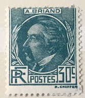 Timbre France Aristide Briand YT 291 (*) MH 1933, 30c Bleu-vert (côte 20 Euros) – 459 - Ongebruikt