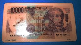 FICHE POKER 10000 LIRE VINTAGE PLASTICA - Specimen
