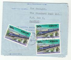 1976 MALINDI Kenya RAILWAY Stamps On AEROGRAMME Part Cover  To Nigeria Train - Kenya (1963-...)