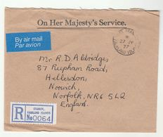 1977 REGISTERED Falklands STANLEY OHMS Airmail COVER To GB Falkland Islands - Falkland Islands