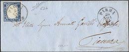 SARDEGNA FRANCOBOLLO C. 20 SU PICCOLA BUSTA DA PARMA PER PIACENZA DEL 25/11/1861 - SASSONE 15Db (CELESTE GRIGIASTRO) - Sardegna