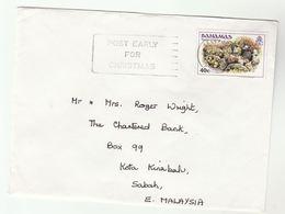 BAHAMAS Cover To MALAYSIA SEA SPONGE Stamps SLOGAN POST EARLY FOR CHRISTMAS - Bahamas (1973-...)