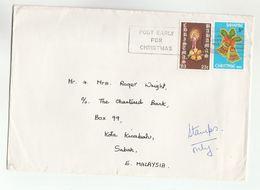 1983 BAHAMAS Cover To MALAYSIA Multi CHRISTMAS Stamps SLOGAN POST EARLY FOR CHRISTMAS - Christmas