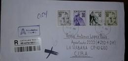 O) 2014 LATVIA, INDEPENDENCE RIGA-MONUMENTS, PRIORITY TO CARIBE, XF - Latvia