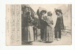Cp, FOLKLORE , Danse , Musique , AUVERGNE , Auvergnat Dance , Voyagée 1919 - Danses