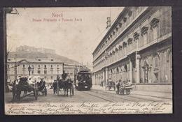 CPA ITALIE - NAPLES - NAPOLI - Piazza Plebiscito E Palazzo Reale - TB PLAN CENTRE ANIMATION TRAMWAY Oblitération - Napoli
