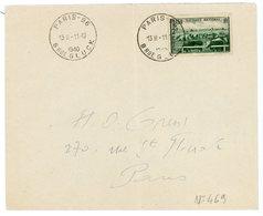 SEINE ENV 1940 PARIS N° 469 SURTAXE SEUL SUR LETTRE - Marcophilie (Lettres)