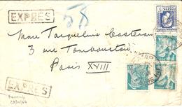 1944- Enveloppe EXPRES  De FECAMP ( Seine Maritime ) Affr. Mixte Dont Marianne D'Alger à 5 F - Marcophilie (Lettres)
