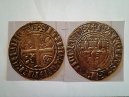 Blanc Dit Guenard De Charles VI 1er Emi  ( O Long ) Rv / Croix Cantonnée De 2 Fleurs De Lys Et 2 Couronnes - 476 – 1789 Perido Feudal