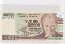 Numismatique -B3554 -Turquie -100000 Lirasi ( Catégorie,  Nature état ... Se Référer Au Double Scan)-Envoi Gratuit - Billets