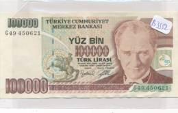 Numismatique -B3552 -Turquie -100000 Lirasi ( Catégorie,  Nature état ... Se Référer Au Double Scan)-Envoi Gratuit - Bankbiljetten