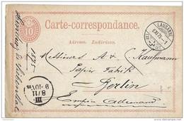 117 - 69 - Entier Postal Envoyé De Lausanne à Berlin 1875 - Stamped Stationery