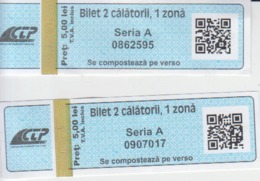 Romania Tramway Tickets 2 Trips Used Iasi - Railway