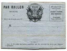 Guerre De 1870 Formulaire Vierge Par BALLON MONTE - Postmark Collection (Covers)