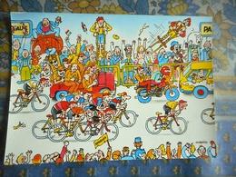 CPM TOUR DE FRANCE 1984 10 EME ETAPE  BORDEAUX PAU   Pub BANANIA Illustrateur GUERRIER - Ciclismo