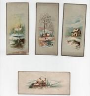 CHROMO Genre Marque-page Paysage Hiver Neige Rivière église Maison (4 Chromos) - Trade Cards