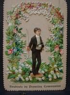 Découpis. 14. Magnifique Découpis Souvenir De Première Communion En 1897 - Enfants