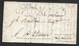 1816 - LAC - 33 ST.PONS (HERAULT) 29mm X 8mm - Frappé 2x - A St. Etienne - Marcophilie (Lettres)