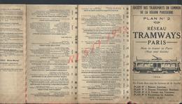 ANCIEN PLAN N°2 RÉSEAU TRAMWAYS PARIS ( GUIDE ) 1923 TOUT N EST PAS SCANNER : - Europe