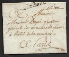 AN 4 - LAC - ST. ETIENNE A PARIS - Ecrit A DUPRÉ, GRAVEUR GÉNÉRAL DES MONNAIS DE FRANCE (AUGUSTIN DUPRÉ  1748 - 1833) - Poststempel (Briefe)