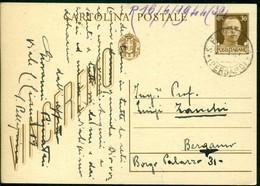 V9144 ITALIA RSI 1944 Cartolina Postale 30 C. Vinceremo, Fil. C98, Interitalia 95, Da S. Pellegrino 14.4.44 Per Bergamo, - 4. 1944-45 Repubblica Sociale