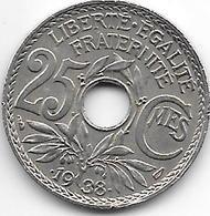 France 25 Centimes  .1938.  Km  867b   Vf+ - France