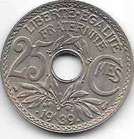 France 25 Centimes  .1939.  Km  867b  Unc - F. 25 Centimes