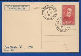 Carte Postale   Avec Timbre N° 436  Oblitération:Concours Agricoles 2-7-1939  Chatillon S-Seine - Postmark Collection (Covers)