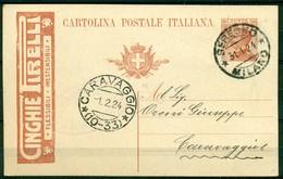 V7964 ITALIA REGNO 1923 Cartolina Postale Pubblicitaria 30 C. Cinghie Pirelli, Fil. R5-20, Interitalia 55-20, Da Seregno - Interi Postali