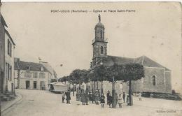 Carte Postale Ancienne De Port Louis L'église Et La Place Saint Pierre - Port Louis